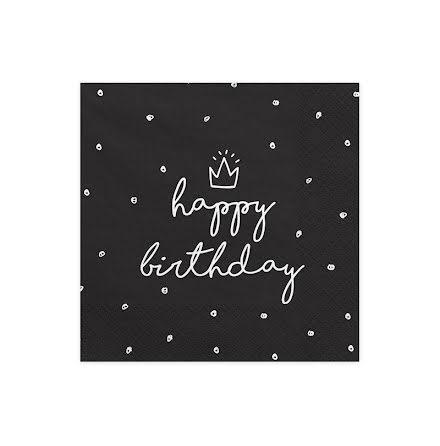 Servetter - Happy birthday svarta
