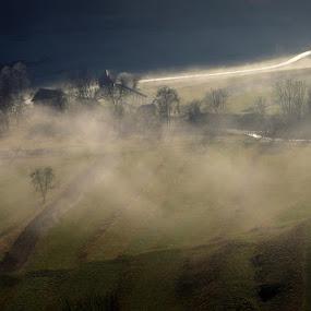 Bohinj - Zgornja dolina by Donat Piber - Landscapes Prairies, Meadows & Fields ( field, fog, walley,  )