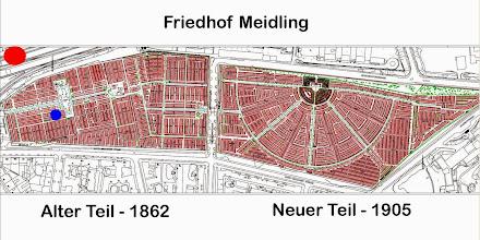 Photo: Der erste Friedhof Meidlings befand sich im Bereich Vierthalergasse, doch dort gab es mit dem Wasser durch die Hanglage Probleme.  So wurde jenseits der Bahn 1862 und 1905 ein neuer Friedhof angelegt. roter Punkt: Bücherei Philadelphiabrücke