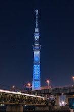 Photo: The Tokyo Skytree towers above a passing train on a cold Winter's night