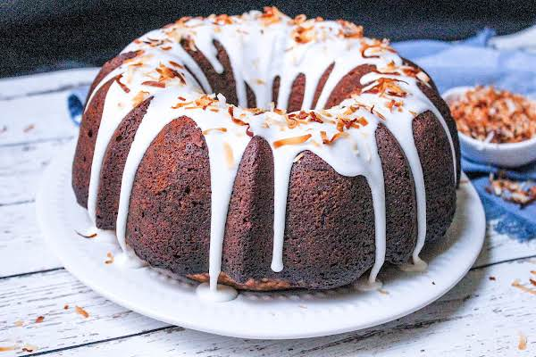 Texas Coconut Pound Cake With A Glaze On Top.