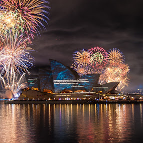 Navy Fleet Review 2013 by Carley Reed - City,  Street & Park  Skylines ( colour, reflection, bright, fireworks, night, opera house )