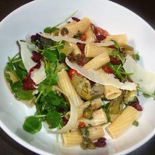Mediterranean Whole Wheat Pasta Salad with a Preserved Lemon, Caper and Thyme Dressing.