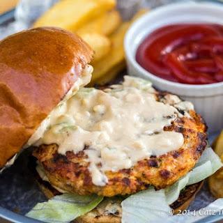 Buffalo Chicken Burgers with Blue Cheese Mayo