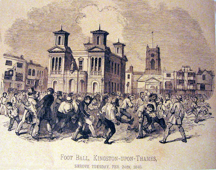 Futbol, 1846 god, Kingston-na-Temze, Angliya (gravyura).