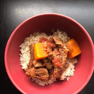 Slow Cooker Spicy Beef and Sweet Potato Stew.