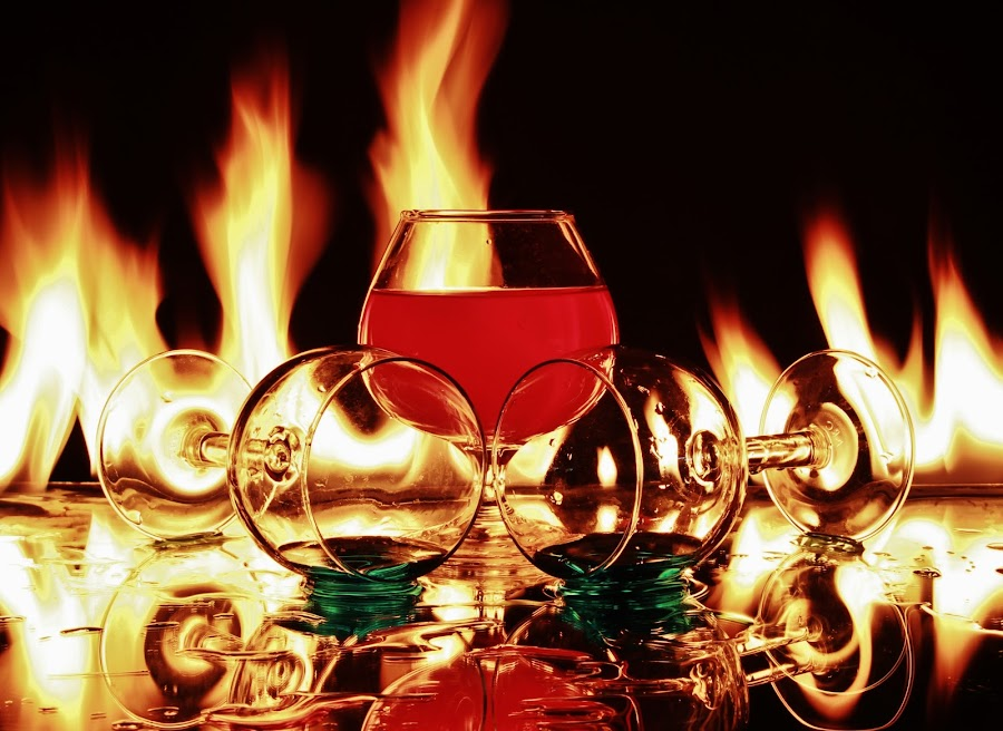 Three glasses and flames 2 by Peter Salmon - Artistic Objects Glass