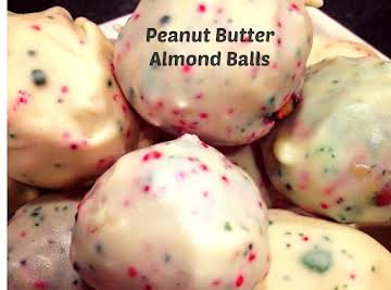 White Chocolate Coated Peanut Butter Almond Balls