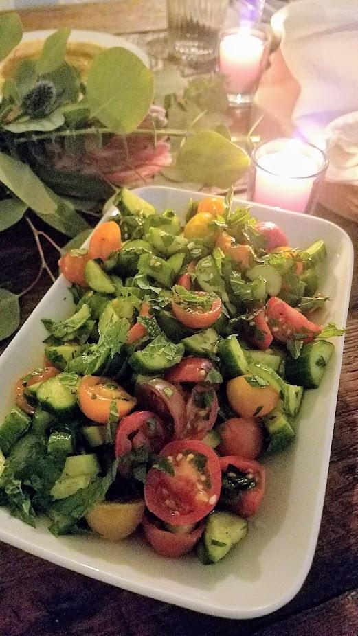 Breaking Breads Dinner Series Pop Up Shabbat, Salads of Yirakot, Smokey Eggplant, Fattoush, and Roasted Cauliflower