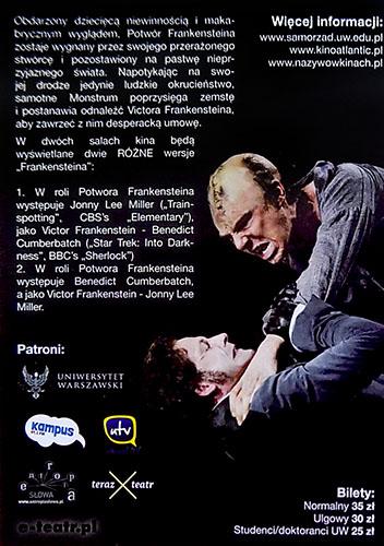 Tył ulotki filmu 'National Theatre Live: Frankenstein'
