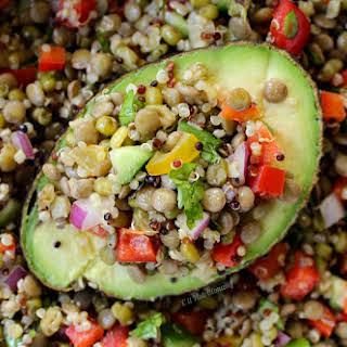 Mung Bean, Quinoa, & Lentil Salad Stuffed Avocado.