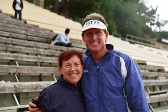 Photo: Jacqueline Hansen& Steve Scott, at Jim Bush T&F Meet, Mt. SAC, 2009.