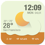 current weather&digital clock Icon