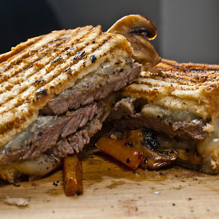 Grilled Cheese Steak Sandwich With Sauteed Veggies and Horseradish Sauce