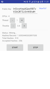 CoinHive Android Miner - náhled