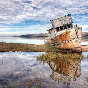 Abandoned Ship by Eddie Yerkish - Transportation Boats ( water, clouds, reflection, waterscape, ship, tomales bay, transportation, landscape, boat, point, sky, reyes, rust, abandoned,  )
