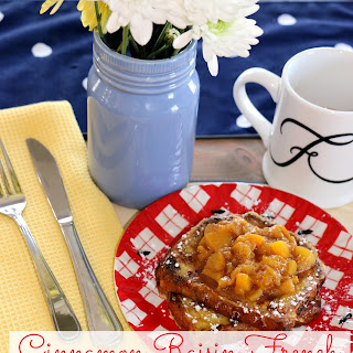 Cinnamon Raisin French Toast with Warm Peach Topping