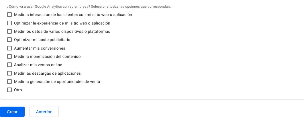 detalles configuración google analytics