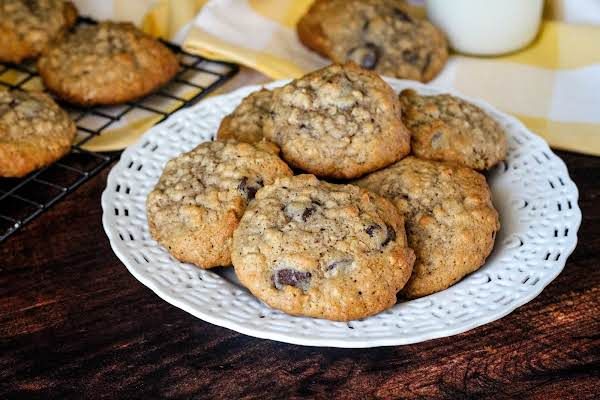 A Plate Of Irresistible Oatmeal Chocolate Chip Cookies.