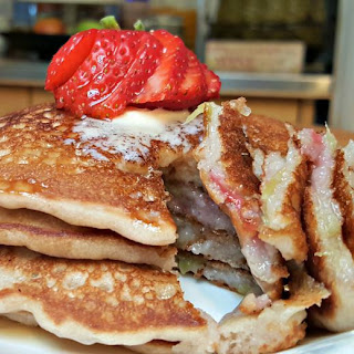 Strawberry Rhubarb Pancakes.