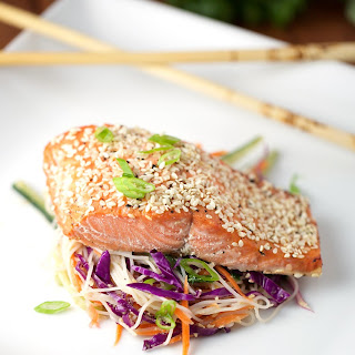 Honey Lime Glazed Salmon with Sesame Rice Noodle Salad