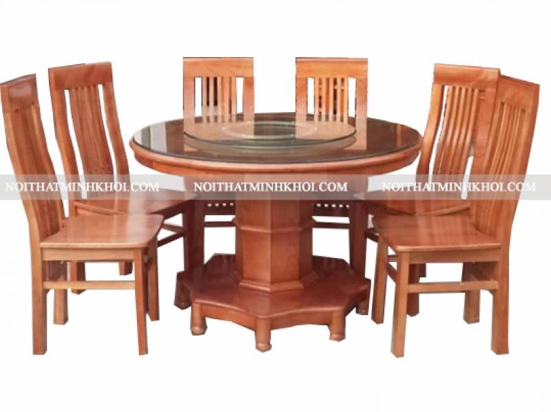 Bàn ăn tròn gỗ xoan đào có mâm xoay 6 ghế