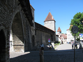 Photo: Side view of gateway, wall and towers