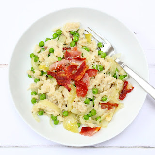 Spaetzle With Peas, Bacon And Caramelised Onions.