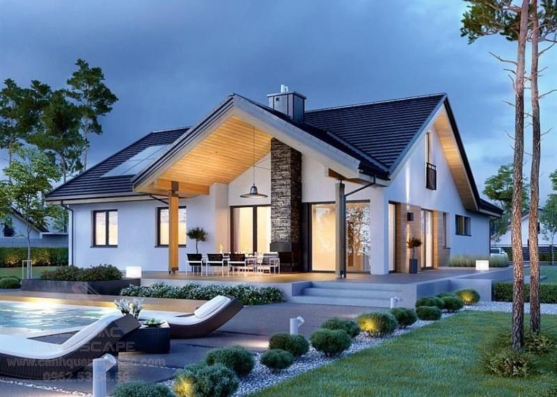 Thiết kế nhà vườn mái thái hiện đại