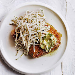 Crumbed Pork Chops With Anchovy Butter And Celeriac Chilli Rémoulade