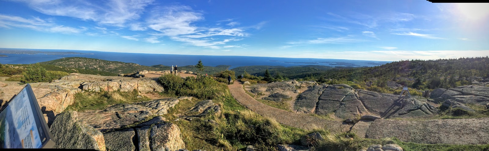 A pano from the top of Cadillac Mountain looking south into the Atlantic.