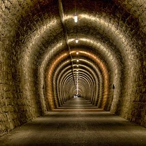Valeta tunnel by Joško Šimic - Buildings & Architecture Architectural Detail ( footpath, old, corridor, street, indoors, architecture, no people, dark, empty, strunjan, diminishing perspective, light at the end of the tunnel, everypixel, underpass, cellar, spooky, backgrounds, light - natural phenomenon, narrow, vanishing point, primorska, slovenia, portorož, underground, tunnel,  )