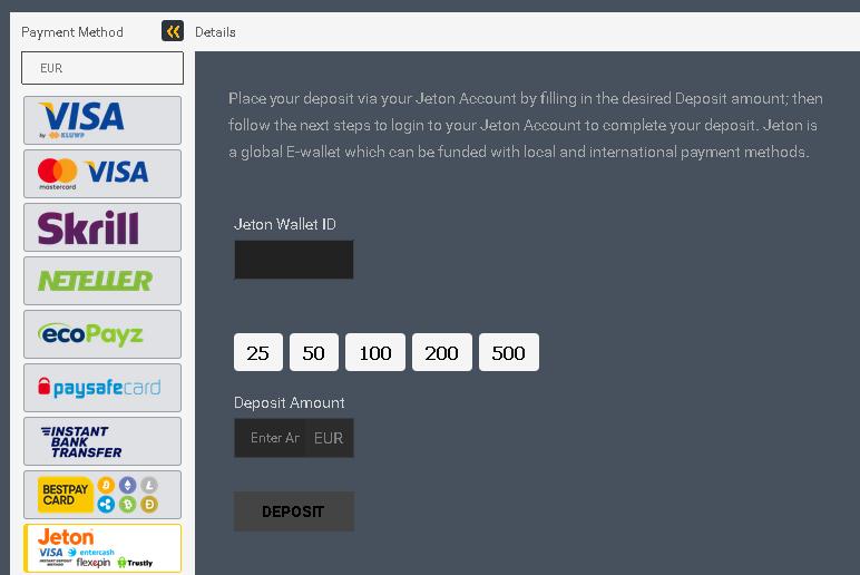 wpłata depozytu - Jeton