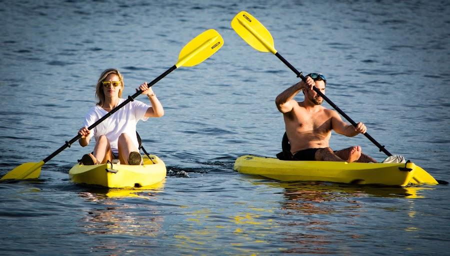 Paddling In by Robert Briggs - People Street & Candids ( boating, water, seattle, paddling, summer, gasworks park, kayak, oars, lake union, street photography,  )