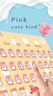 Pink cute bird keyboard - náhled