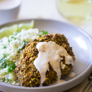 Pistachio Crusted Chicken with Cilantro Lime Cauliflower Rice