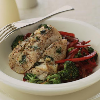 Roasted Cod with Vegetable Stir Fry.