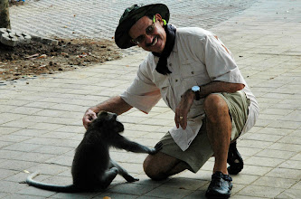 Photo: The Monkey temple in Bali, Harry & a friend!