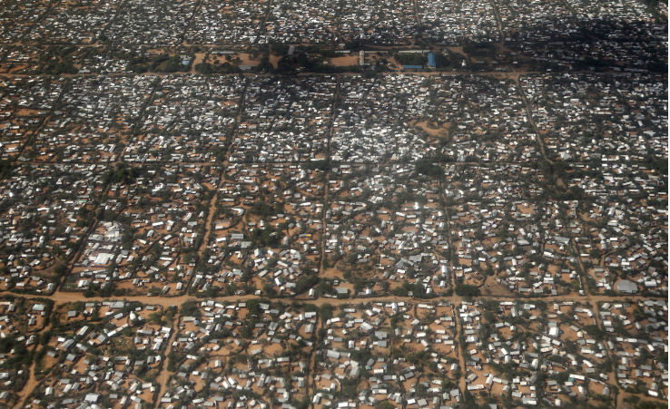 FILE PHOTO: An aerial picture shows a section of the Hagadera camp in Dadaab near the Kenya-Somalia border, on May 8 2015.