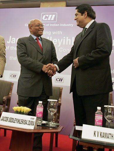 President Jacob Zuma, left, and Kundapur Vaman Kamath, the president of the New Development Bank. Picture: REUTERS/DANISH ISMAIL