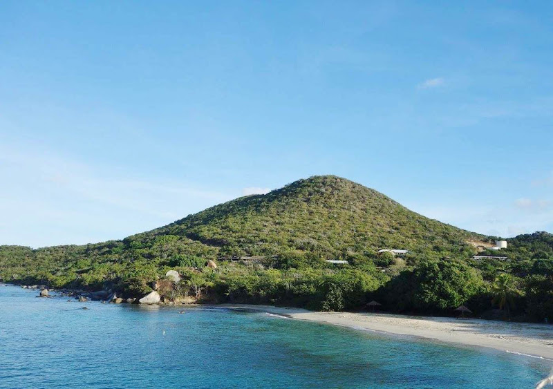 Arriving at Virgin Gorda, home to beautiful beaches and remarkable rock formations.