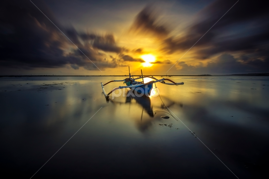 Staring at the Sun by Choky Ochtavian Watulingas - Transportation Boats ( clouds, reflections, long exposure, seascape, sunrise, boat, sun )