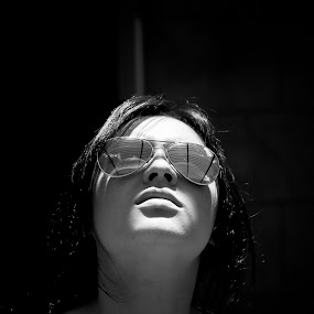 Bars by Brett Florence - People Fine Art ( black and white, woman, bars, b+w )