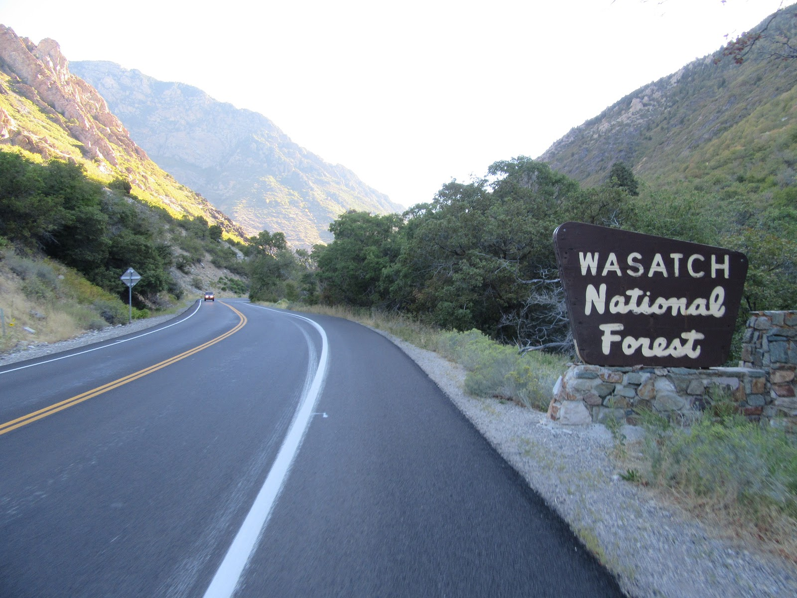 Riding Big Cottonwood Canyon by bike - Wasatch National Forest sign.