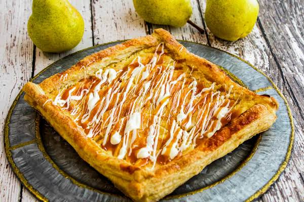 Pam's Rustic Caramel Pear Tart With Caramel Sauce And White Chocolate On Top.