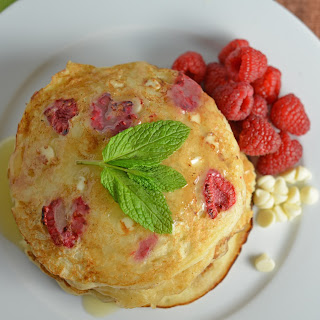 White Chocolate and Raspberry Pancakes