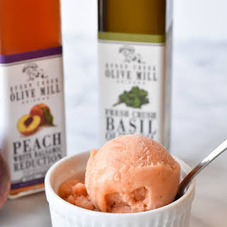 Balsamic Peach and Basil Sorbet.