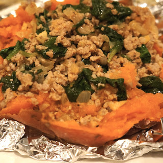 Turkey and Spinach Stuffed Sweet Potatoes