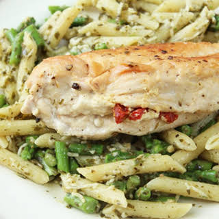 Stuffed Chicken & Pesto Penne With Asparagus.