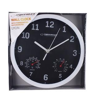 Ceas de perete cu termometru si higrometru, diametru 25 cm, Esperanza Lyon